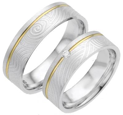 Bicolour trouwringen met fingerprint motief