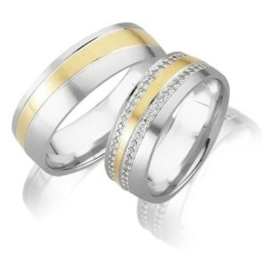 Rosegold met witgouden trouwring