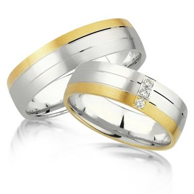 Wit met gele rand trouwringen