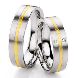 relatieringen edelstaal met 14 krt goud 88/ST133B