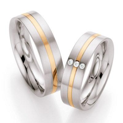 relatieringen edelstaal met 14 krt goud 88/ST138B